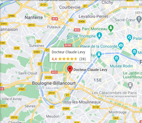 Plan d'accès du dr Claude Levy à Paris